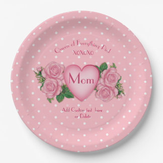 Queen of Everything Pink Mom 9 Inch Paper Plate