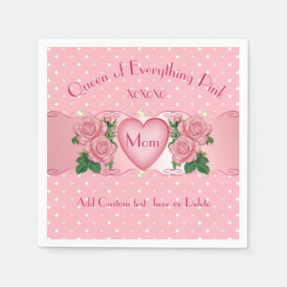Queen of Everything Pink Mom Disposable Napkins