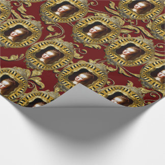 Queen of France Elegant Scarlet Christmas Wrapping Paper