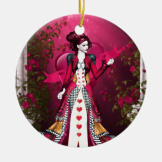 Queen of Heart Round Ceramic Ornament