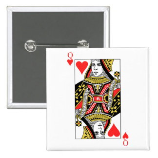 Queen of Hearts 2 Inch Square Button