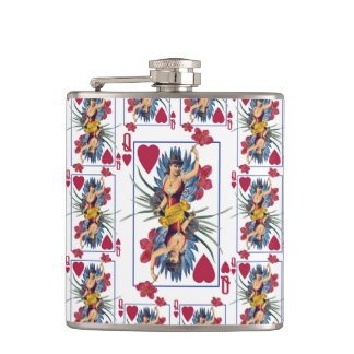Queen of Hearts and Flowers Hip Flask