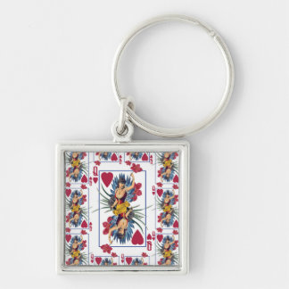 Queen of Hearts and Flowers Keychain