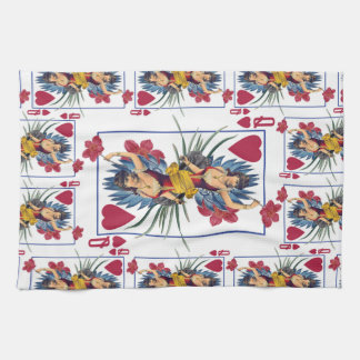 Queen of Hearts and Flowers Kitchen Towel