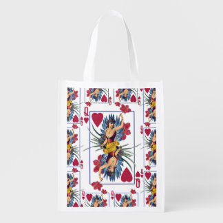 Queen of Hearts and Flowers Reusable Grocery Bag