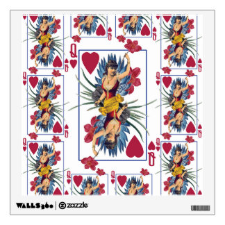 Queen of Hearts and Flowers Wall Decal