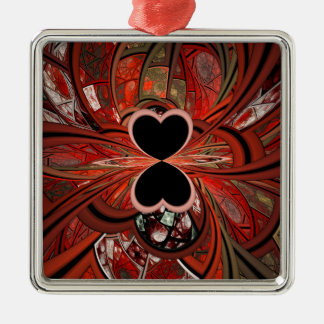 Queen Of Hearts Fractal Metal Ornament