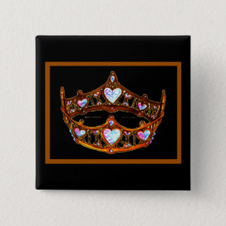 Queen of Hearts Gold Crown Tiara black button pin