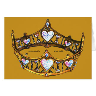 Queen of Hearts Gold Crown Tiara gold mustard card