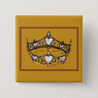 Queen of Hearts Gold Crown Tiara golden button