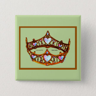 Queen of Hearts Gold Crown Tiara mint green button