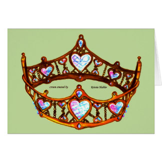 Queen of Hearts Gold Crown Tiara mint green card