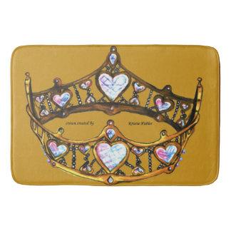 Queen of Hearts Gold Crown Tiara mustard bath mat