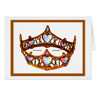 Queen of Hearts Gold Crown Tiara on white card