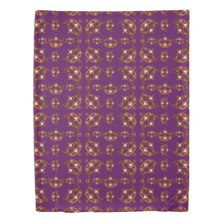 Queen of Hearts Gold Crown Tiara pattern purple Duvet Cover