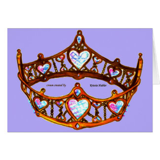 Queen of Hearts Gold Crown Tiara periwinkle card