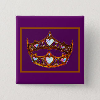 Queen of Hearts Gold Crown Tiara royal purple pin