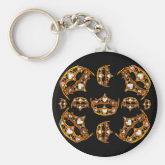 Queen of Hearts Gold Crowns Tiaras black keychain
