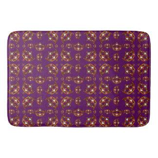 Queen of Hearts Gold Crowns Tiaras pattern purple Bath Mat