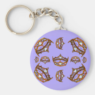 Queen of Hearts Gold Crowns Tiaras periwinkle Keychain