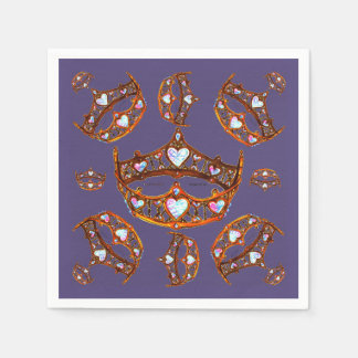 Queen of Hearts Gold Crowns Tiaras Ultra Violet Disposable Napkin
