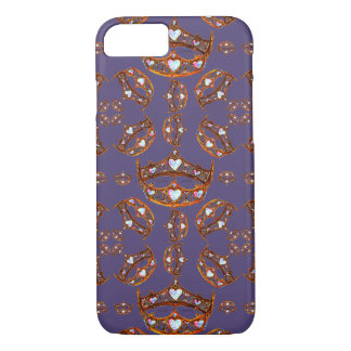 Queen of Hearts Gold Crowns Tiaras Ultra Violet iPhone 8/7 Case