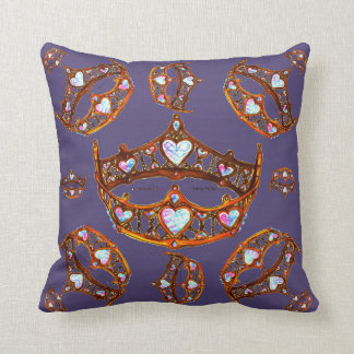 Queen of Hearts Gold Crowns Tiaras Ultra Violet Throw Pillow