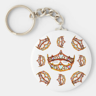 Queen of Hearts Gold Crowns Tiaras white keychain