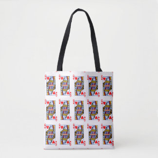 Queen of hearts playing cards tote bag