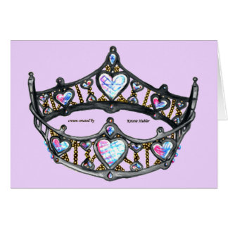 Queen of Hearts Silver Crown Tiara pink lilac card