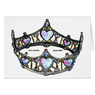 Queen of Hearts Silver Crown Tiara white notecard