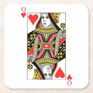 Queen of Hearts Square Paper Coaster