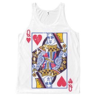 Queen of hearts tee, distressed look All-Over-Print tank top