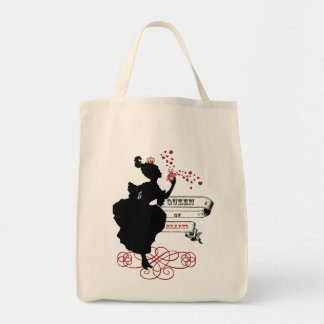 Queen of Hearts Vintage Graphic Canvas Tote