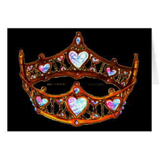 Queen of Hearts Warm Gold Crown Tiara black Card