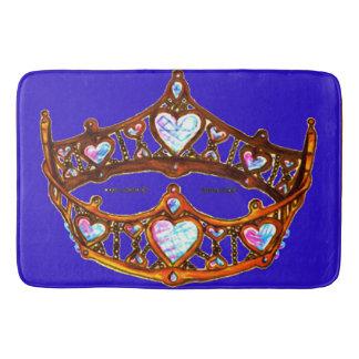 Queen of Hearts Warm Gold Crown Tiaras blue violet Bath Mat