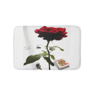 queen of hearts with rose bath mat