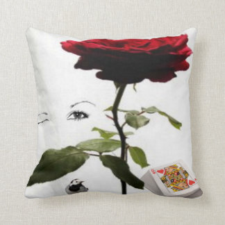queen of hearts with rose throw pillow