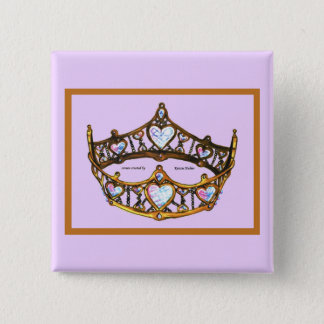 Queen of Hearts Yellow Gold Crown Tiara pink lilac 2 Inch Square Button