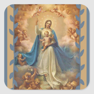 Queen of Heaven Infant With Jesus & Angels Square Sticker
