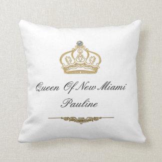 Queen Of Miami Monogram Throw Pillow