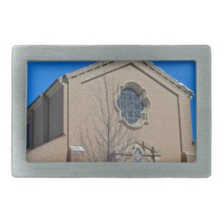 Queen of Peace Chapel in Winter Rectangular Belt Buckles