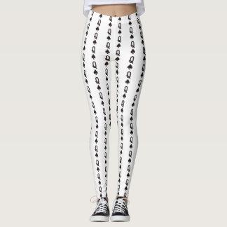 queen of spades design white leggings