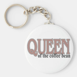 Queen of the Coffee Bean Basic Round Button Keychain