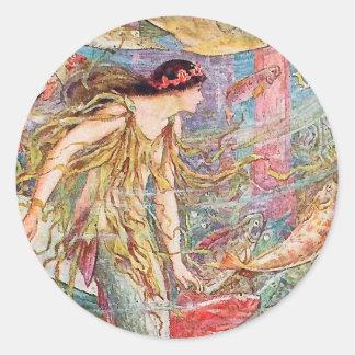 Queen of the Fishes - Orange Fairy Book Classic Round Sticker