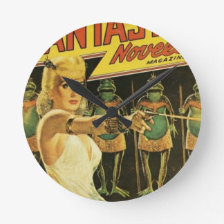 Queen of the Frog Men Round Clock