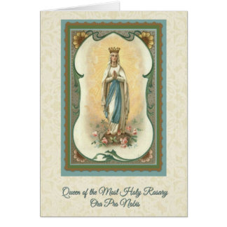 Queen of the Most Holy Rosary Card w/prayer