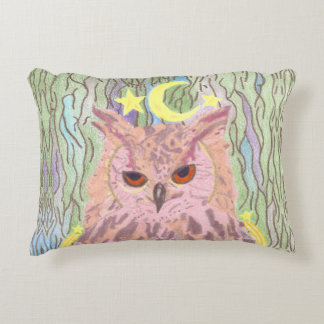 Queen of the Night Girly Owl Accent Pillow
