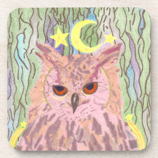Queen of the Night Girly Owl Hard Plastic Coasters