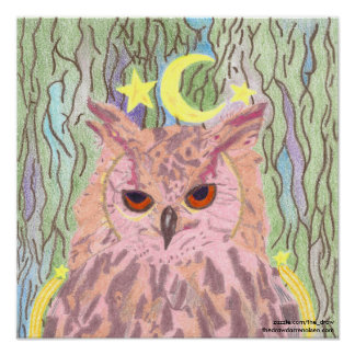 Queen of the Night Girly Owl Poster